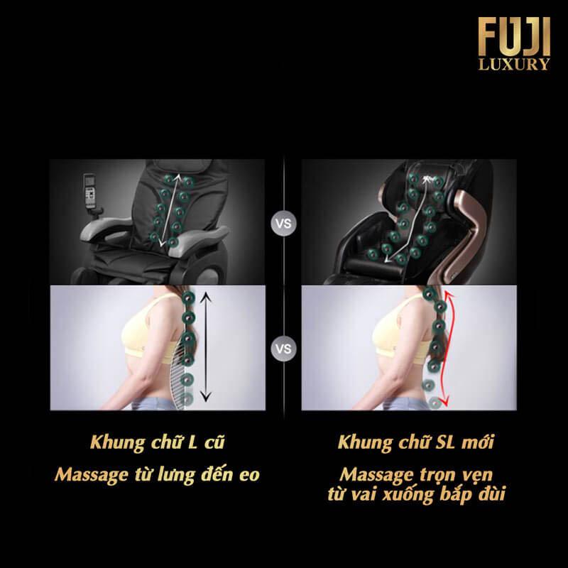 Khung massage hình SL giảm áp lực lên cột sống.