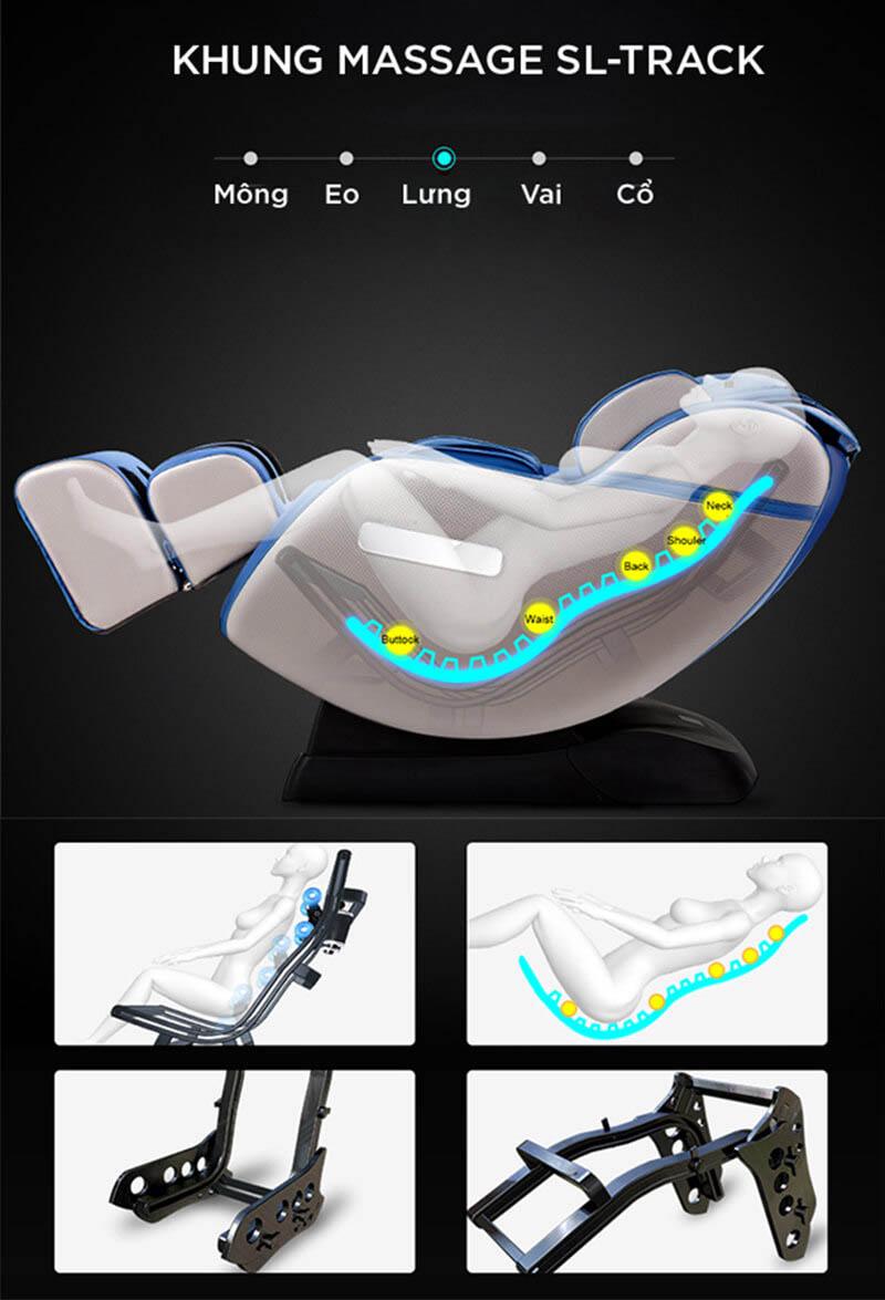 Khung massage hình SL – một trong những phần cấu tạo quan trọng nhất của ghế massage toàn thân.