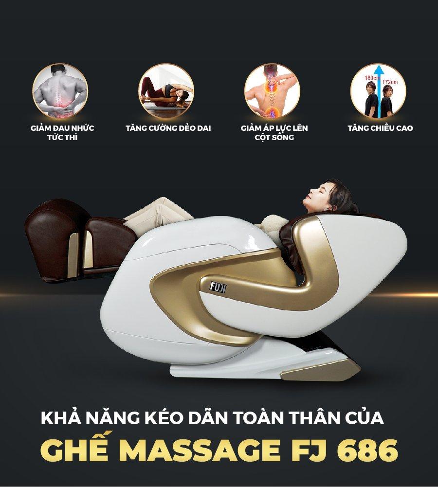 Massage kéo giãn làm nên thương hiệu của ghế massage FJ - 686