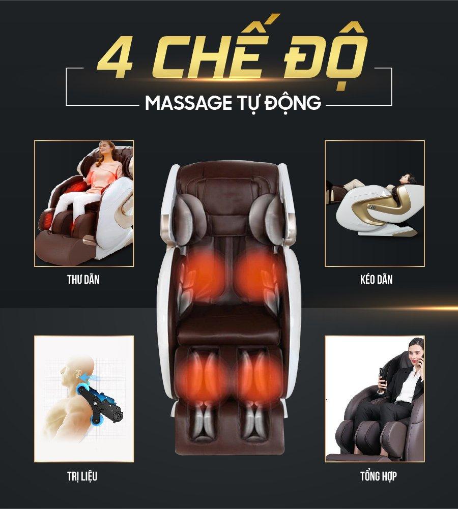 4 chế độ massage tự động trên ghế massage toàn thân cao cấp FJ 686