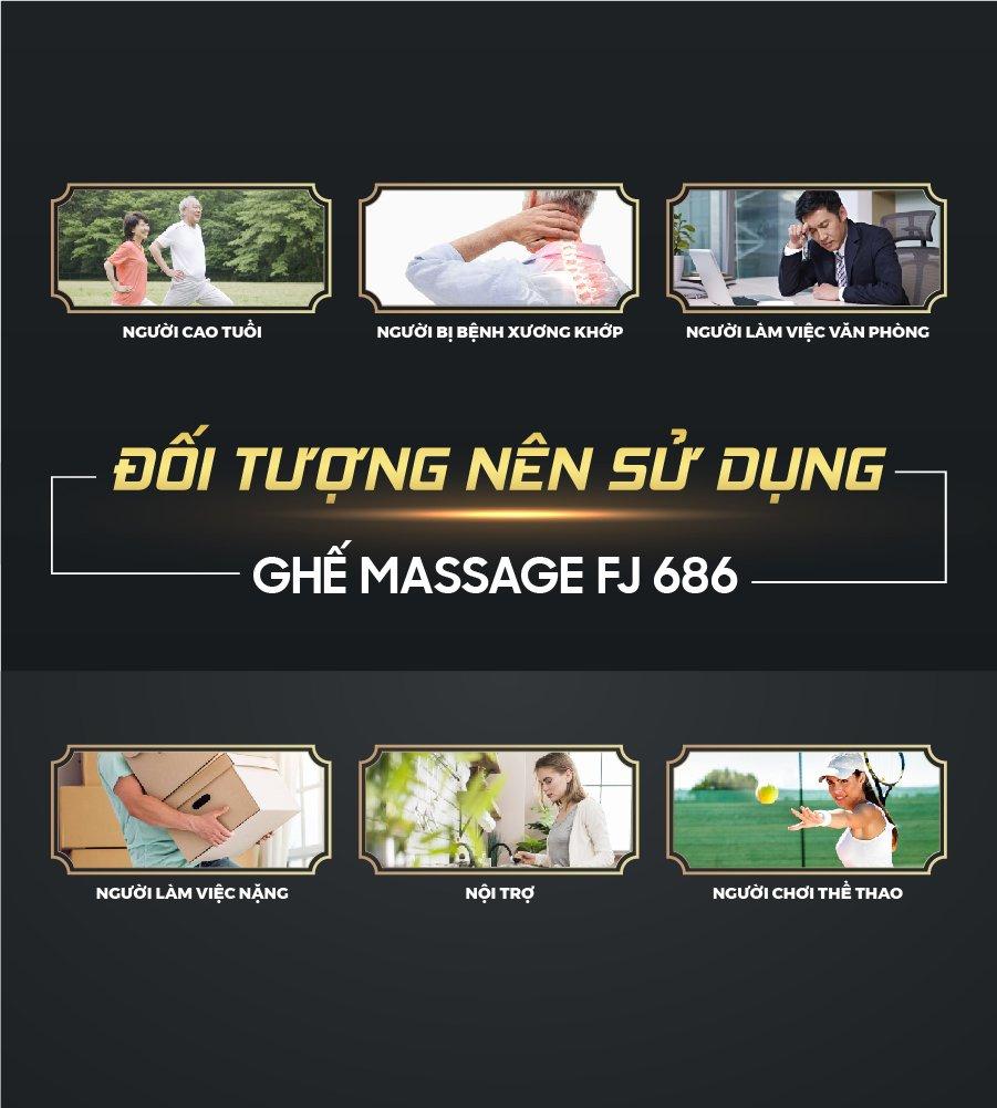 Ghế massage trị liệu toàn thân FJ 686 phục vụ đa dạng nhu cầu của tất cả đối tượng khác nhau